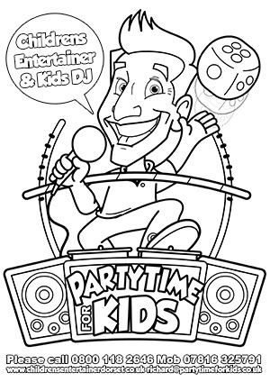 childrens party colouring sheet